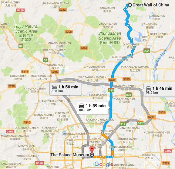 taxi to great wall of china, mutianyu,forbidden city, jingshan, car rental with english driver, cab, day tour